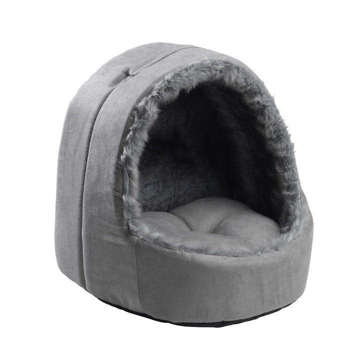 Arctic Hooded Sude & Sheepskin Cat Bed