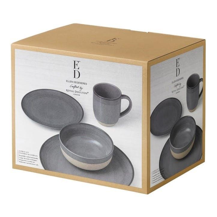 ED Ellen DeGeneres Brushed Glaze 16 Piece Dinner Set, Charcoal Grey