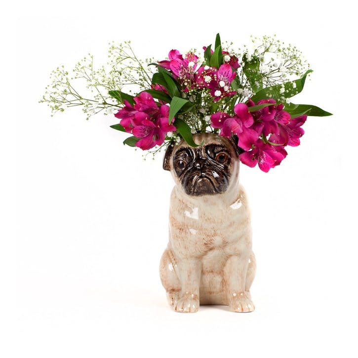 Pug Flower Vase, H22cm, Fawn