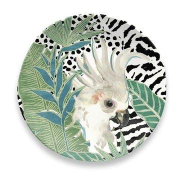 'Lush Jungle' Cockatoo Melamine Side Plate, 21cm