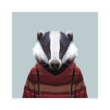Zoo Portrait Print Badger, 33cm x 33cm