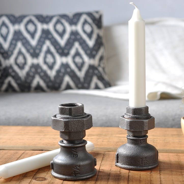 Industrial Style Candle Holders, Set of 2 - 11 & 12cm; Steel