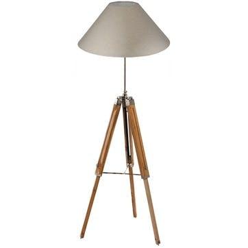 Wooden Tripod Floor Lamp Base; Natural