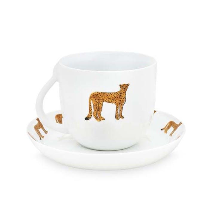 Cheetah Cappuccino Cup & Saucer