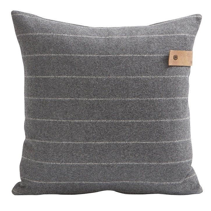Marina Wool Striped Cushion, Granite