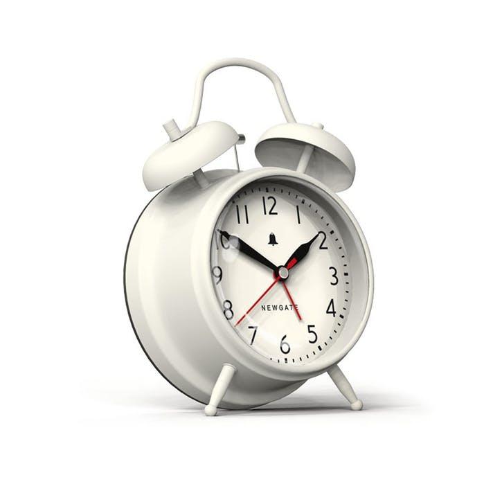 The New Covent Garden Alarm Clock, Dia. 11.7cm, Linen White