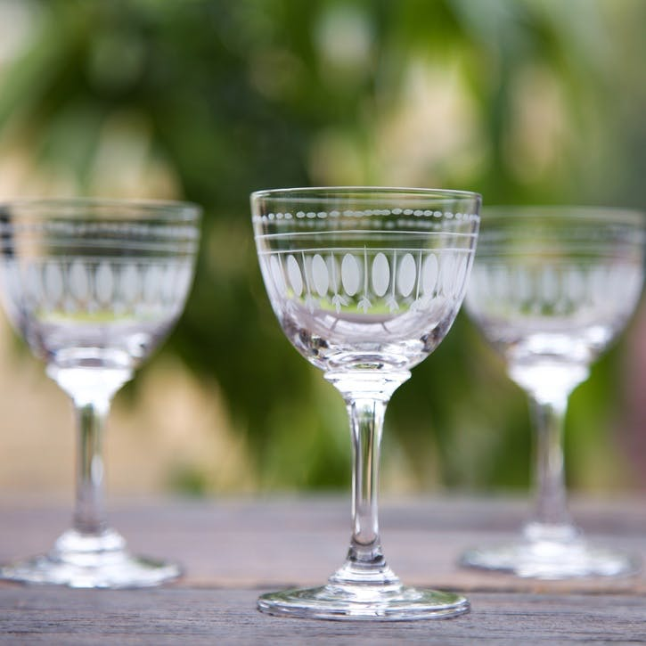 Oval Patterned Crystal Liqueur Glasses, Set Of 6