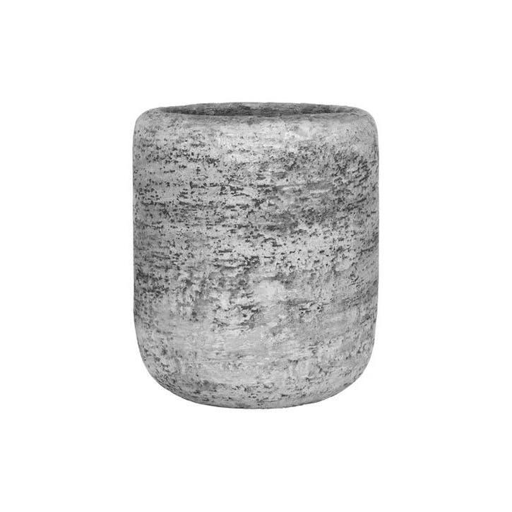 Scratched Concrete Flower Pot, Small