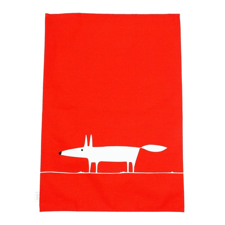 Mr Fox Tea Towels, Set of 2, Red