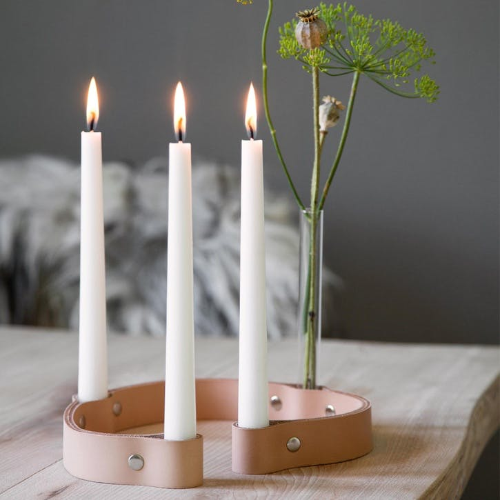 Belt 4 Candle Holder, Natural Leather