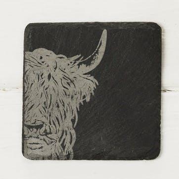 Highland Cow Coaster, Set of 4