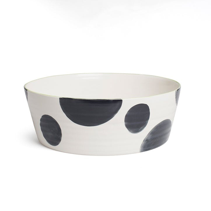 Spots Tapered Wide Bowl, Charcoal