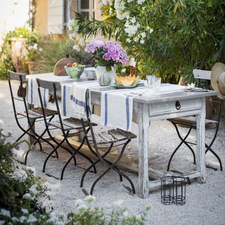 Arles Table Runner, Navy Stripe, 47 x 140cm
