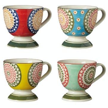 Florya Stoneware Mugs, Set of 4, Multi