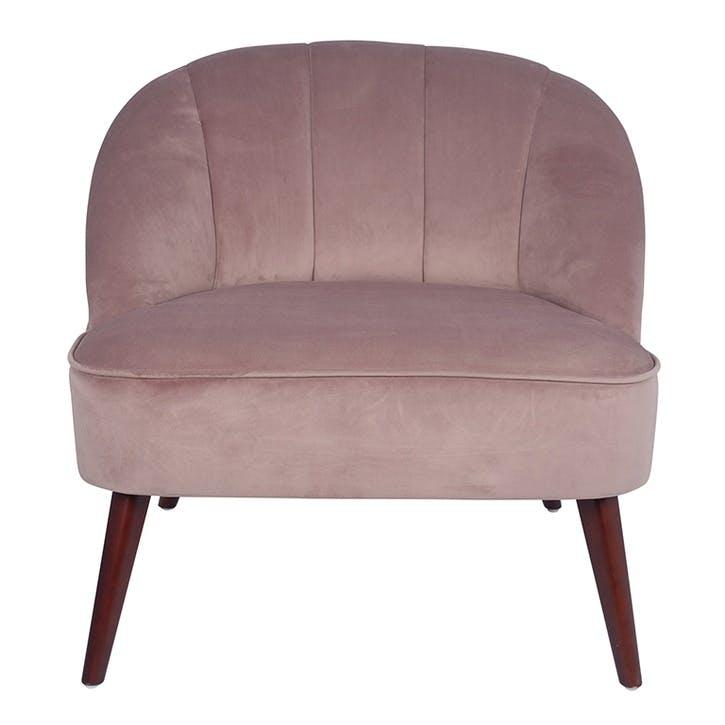 Austen Pleated Velvet Cocktail Chair, Blush