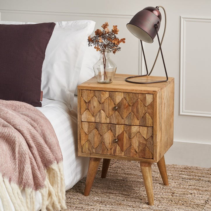 Geometric 2 Drawer Bedside Table