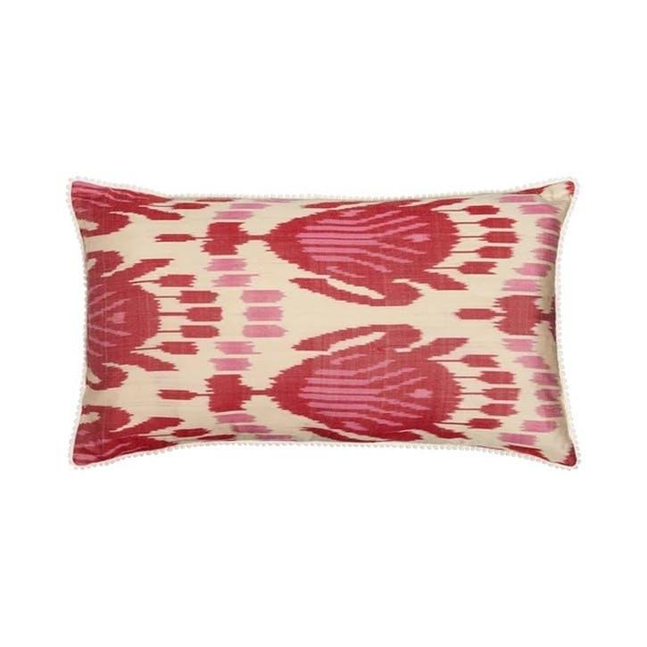 Red Silk Ikat Cushion, Rectangular