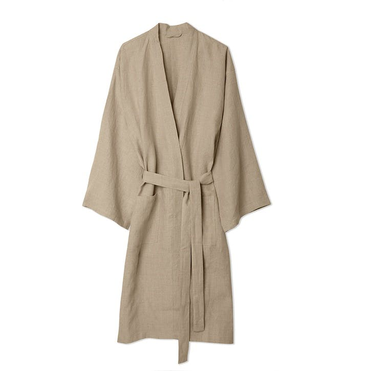 Oatmeal Linen Robe, Medium