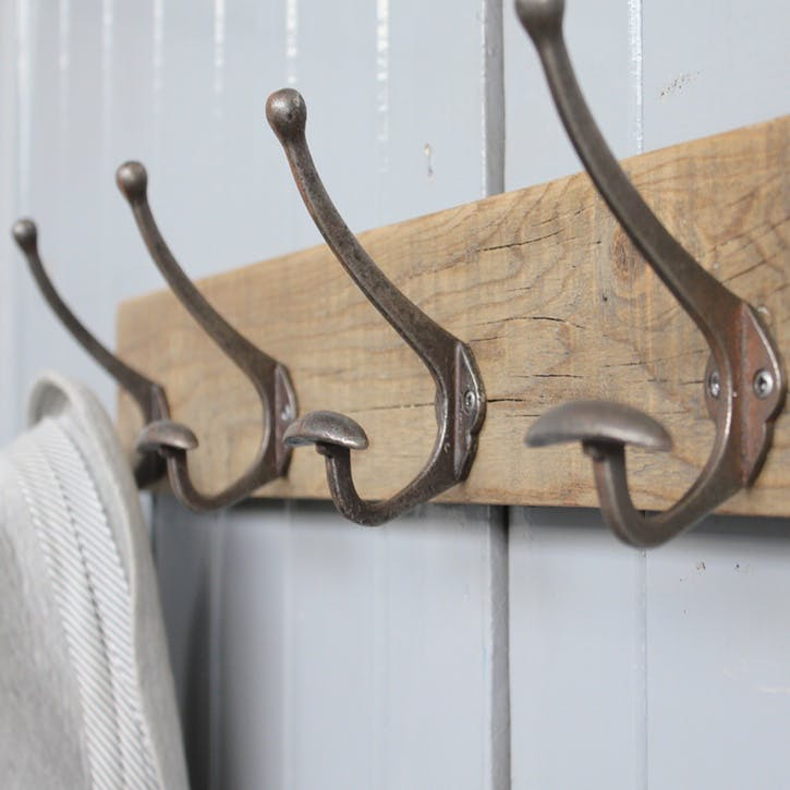 Limited Edition Reclaimed Bowler Hat And Coat Hook - 60 x 9.5cm; Natural