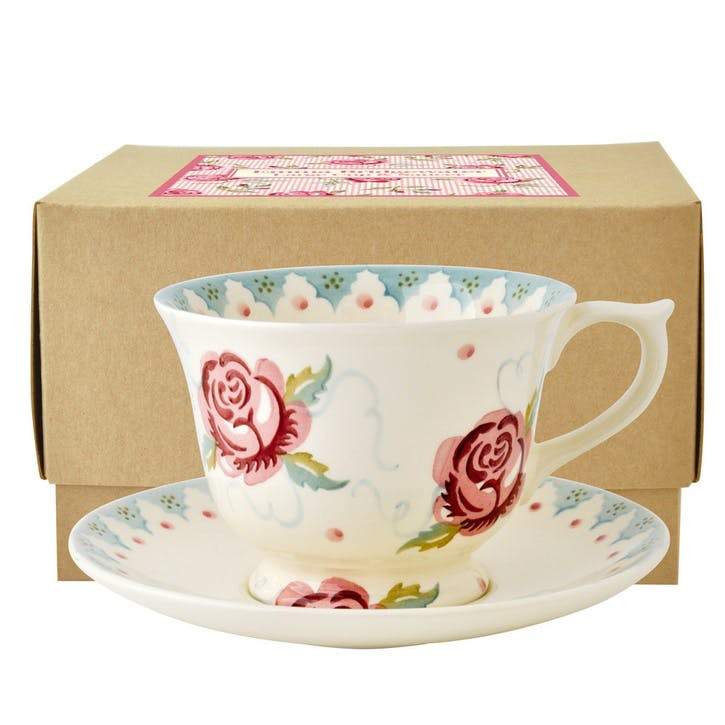Rose & Bee Teacup & Saucer Boxed, 9cm