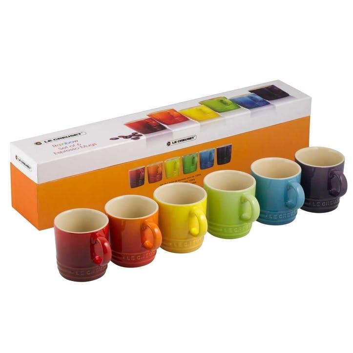 Rainbow Espresso Mugs, Set of 6