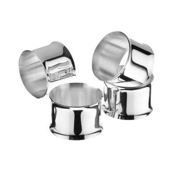 Set of 4 Silver Plated Napkin Rings with Curved Edges