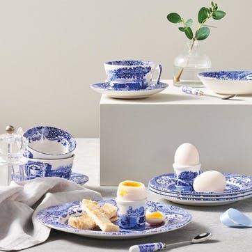 Blue Italian Breakfast Cups & Saucers, Set of 4