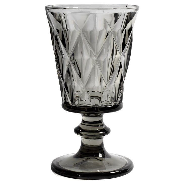 Diamond Wine Glass, Smoke Grey