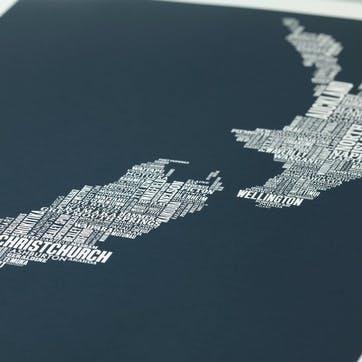 Type Map Screen Print New Zealand, 50cm x 70cm, Sheer Slate
