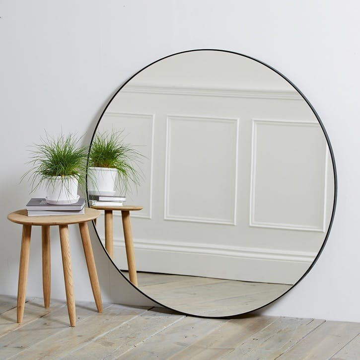 Chiltern Thin Metal Round Mirror, Black