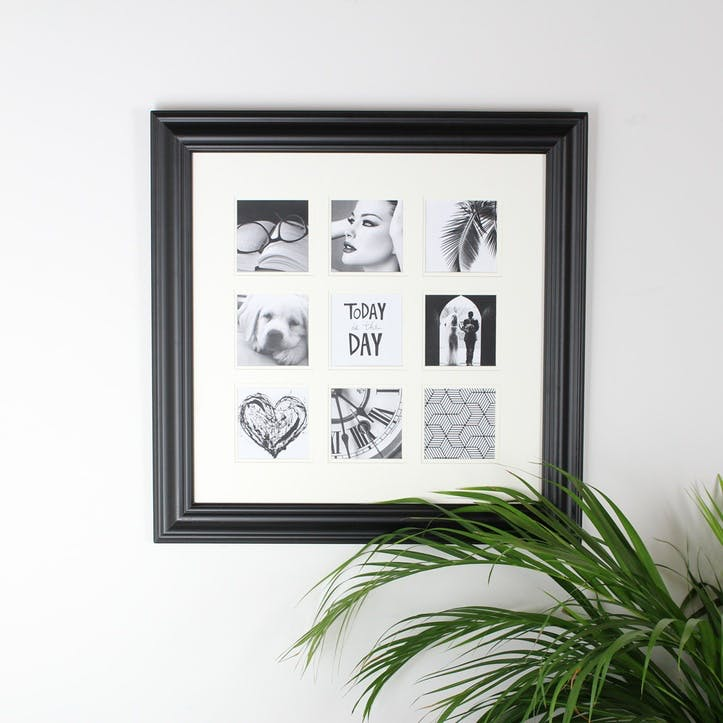 9 Aperture Square Photo Frame; Black