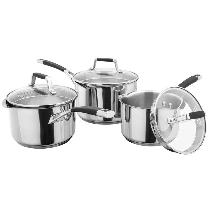 Induction Draining Saucepan Set, 3 Piece