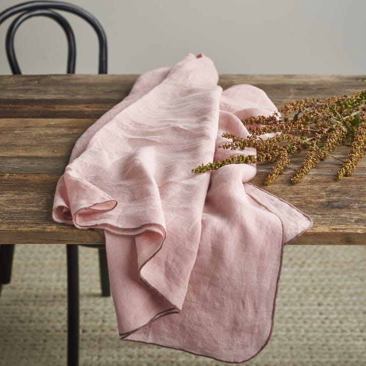 Jewel Linen Tablecloth; Blush