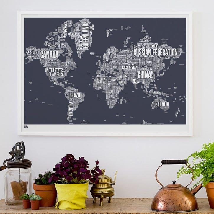 Type Map Screen Print World, 100cm x 70cm, Sheer Slate