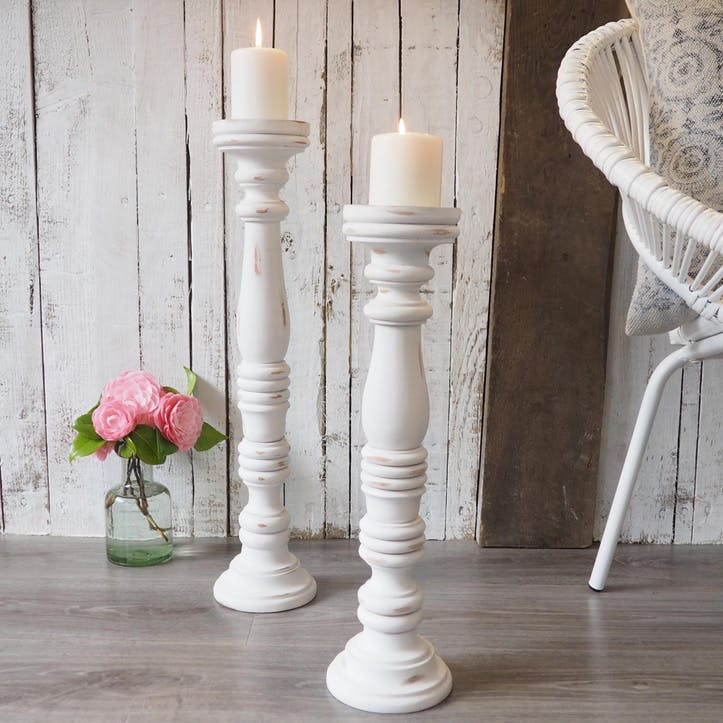Tall White Wooden Candlestick, Tall