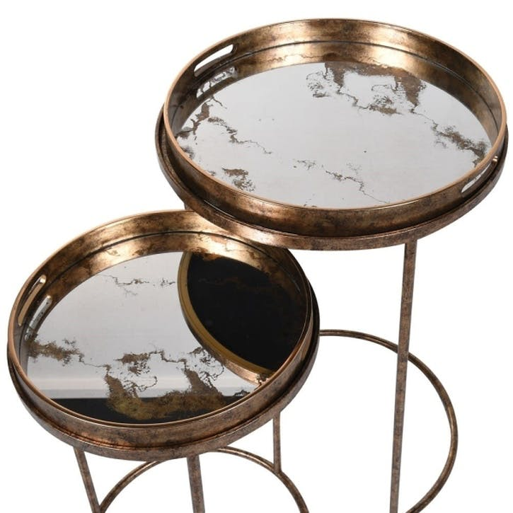 Nesting Marbled Mirror Tray Tables, Set of Two