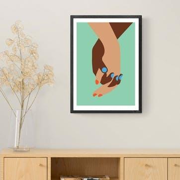 Dicky Bird, Hands Green Framed Art Print