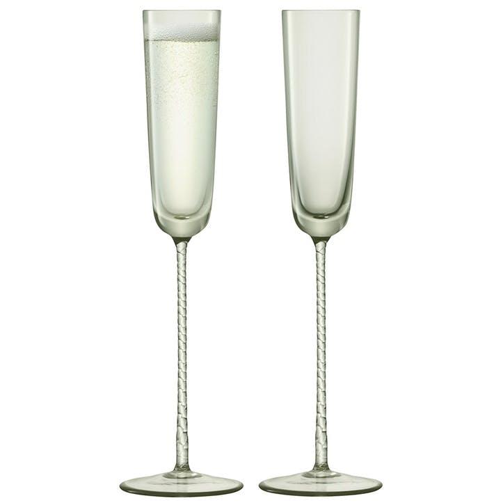 Champagne Theatre Set of 2 Flutes - 120ml; Smoke Grey