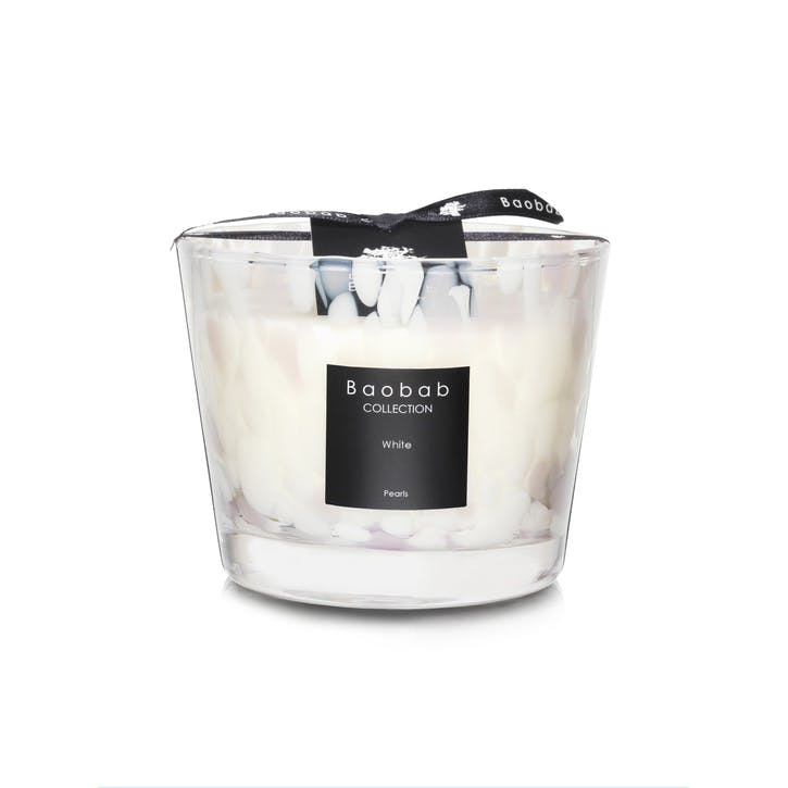 White Pearls Scented Candle, 10cm - White Musk & Jasmine