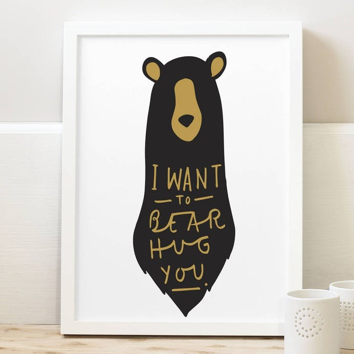 'Bear Hug' Black & Gold Print White Background, A3