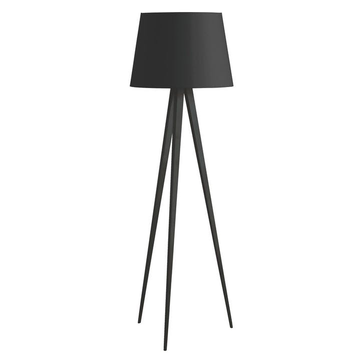 Yves Black Metal Tripod Floor Lamp with Black And Copper Shade