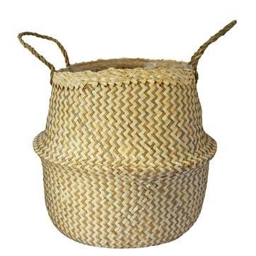 Seagrass Chevron, Lined Basket Small, White