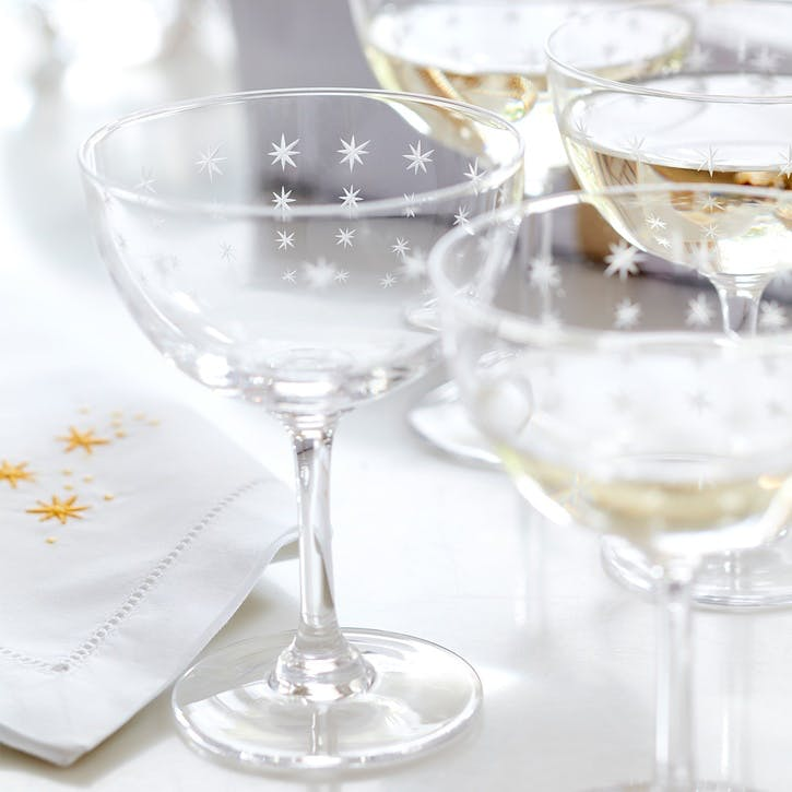 Sparkle Champagne Coupes, Set of Six