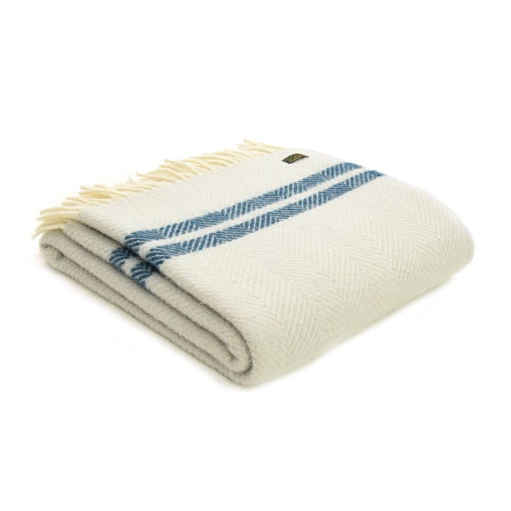 Fishbone 2 Stripe Throw; Glacier & Ink