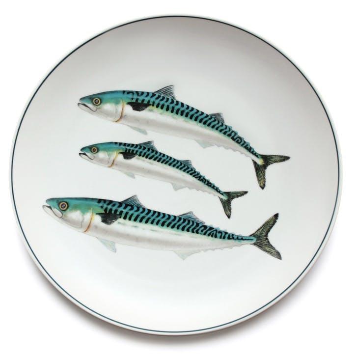 Seaflower Mackerel Charger Platter, 32cm, Blue