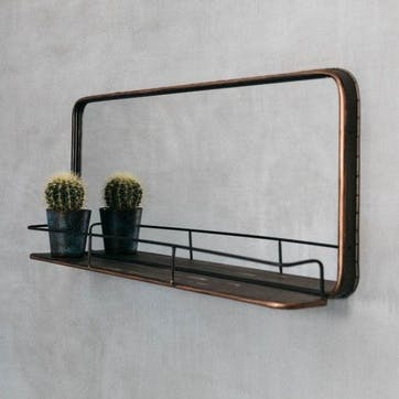 Ola Copper Mirror With Shelf