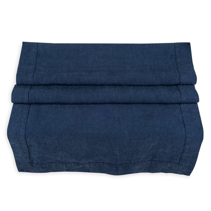 Linen Table Runner; Midnight Blue