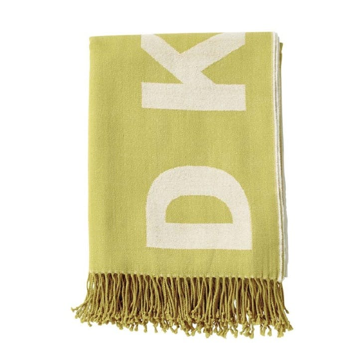 Woven Engineered Throw, Mustard & White