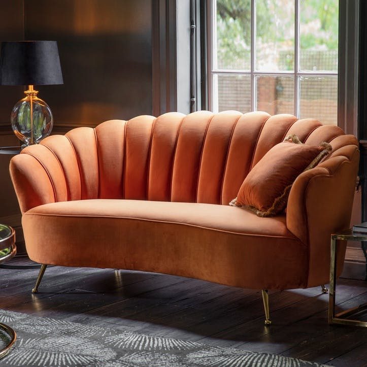 Marldon Velvet Sofa, Orange