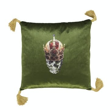 Skull in Crown Velvet Cushion, Meadow Green